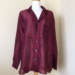 Chico's Women's Blouse Crinkle Sheer Size 3